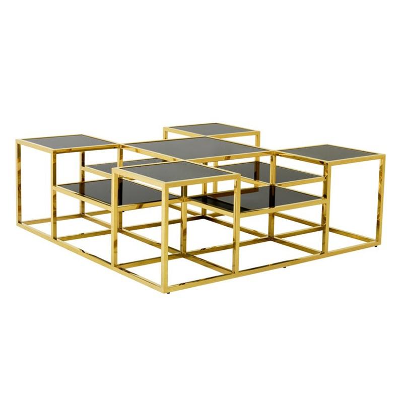 Журнальный столикЖурнальные столики<br>Журнальный столик Coffee Table Smythson на металлическом основании золотого цвета. Полки выполнены из плотного стекла дымчатого цвета.<br><br>Material: Стекло
