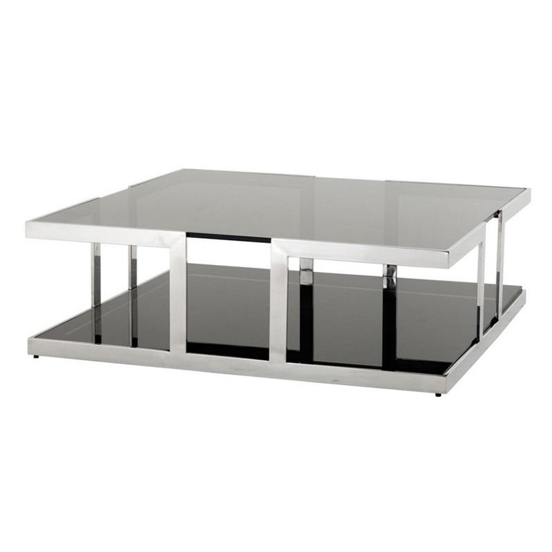 Журнальный столикЖурнальные столики<br>Журнальный столик Coffee Table Treasure на основании из нержавеющей стали. Столешница выполнена из плотного стекла дымчатого цвета, нижняя полка из стекла черного цвета.<br><br>Material: Стекло<br>Width см: 100<br>Depth см: 100<br>Height см: 32<br>Diameter см: None