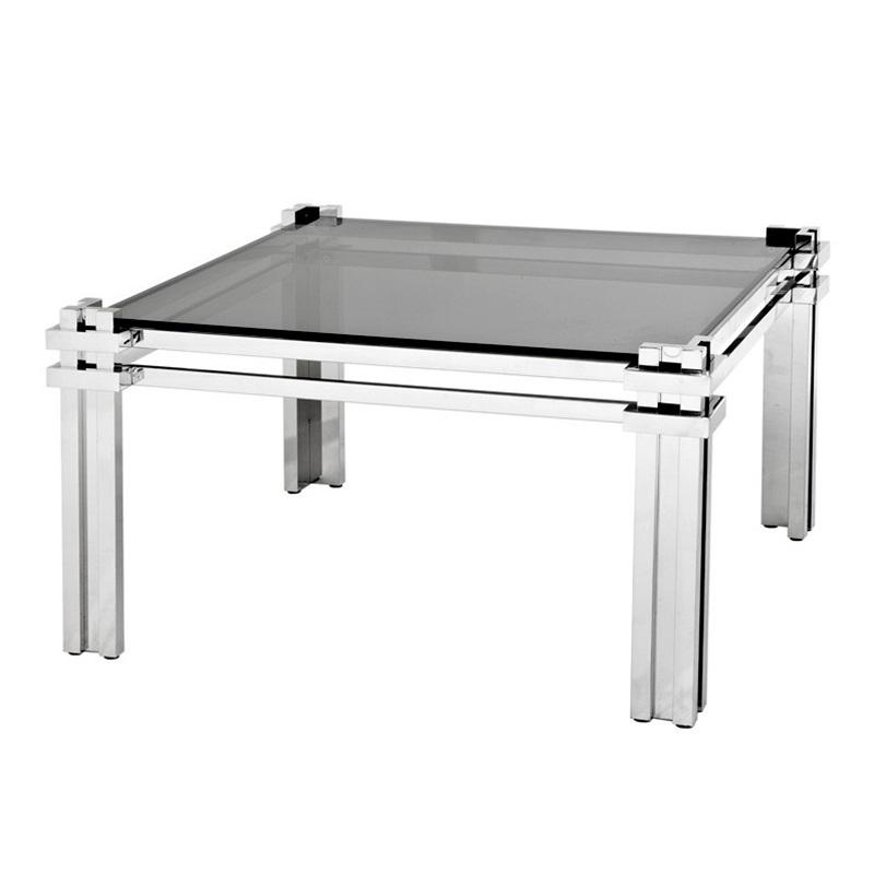 Журнальный столикЖурнальные столики<br>Журнальный столик Coffee Table Waterloo на основании из полированной нержавеющей стали. Столешница выполнена из плотного стекла дымчатого цвета.<br><br>Material: Стекло<br>Width см: 99,5<br>Depth см: 99,5<br>Height см: 55,5