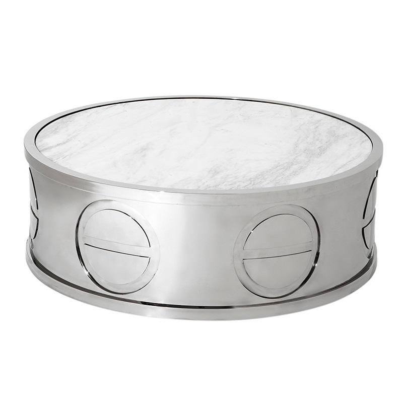 Журнальный столикЖурнальные столики<br>Журнальный столик Coffee Table Alpine выполнен из нержавеющей стали. Столешница из мрамора белого цвета.<br><br>Material: Мрамор<br>Ширина см: 100.0<br>Высота см: 32.0<br>Глубина см: 100.0