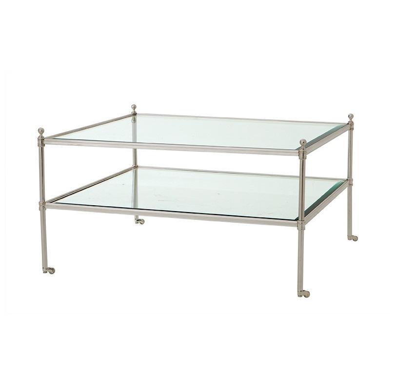 Журнальный столикЖурнальные столики<br>Журнальный столик Coffee Table Aubrey на металлическом основании серебряного цвета.&amp;amp;nbsp;&amp;amp;nbsp;Столешница и полка из прозрачного стекла.<br><br>Material: Стекло<br>Width см: 78<br>Depth см: 78<br>Height см: 44