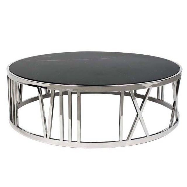 Журнальный столикЖурнальные столики<br>Журнальный столик Coffee Table Roman Figures на основании из нержавеющей стали. Столешница из мрамора черного цвета.<br><br>Material: Стекло<br>Height см: 33<br>Diameter см: 100