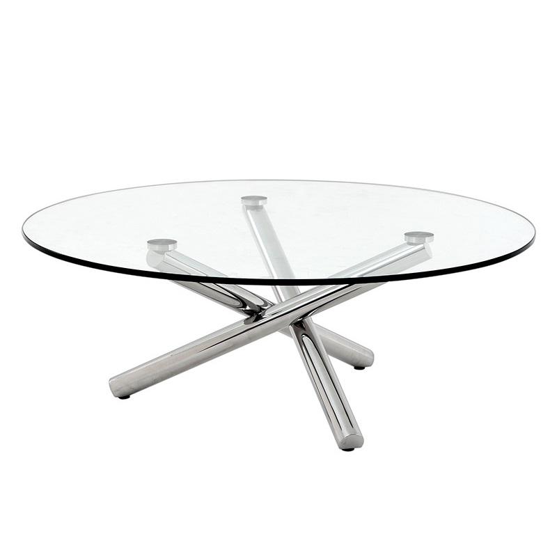 Журнальный столикЖурнальные столики<br>Журнальный столик Coffee Table Corsica на ножках из нержавеющей стали. Столешница из плотного прозрачного стекла.<br><br>Material: Стекло<br>Ширина см: 105.0<br>Высота см: 38.0<br>Глубина см: 105.0