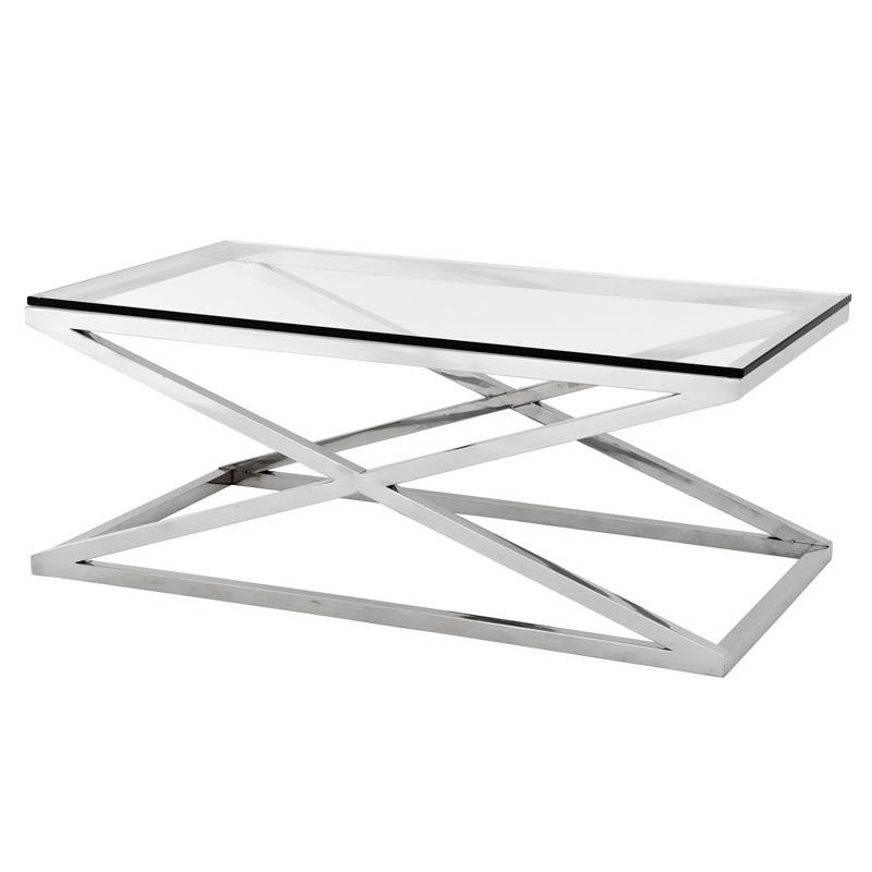 Журнальный столикЖурнальные столики<br>Журнальный столик Coffee Table Criss Cross на основании из нержавеющей стали. Столешница выполнена из плотного прозрачного стекла.<br><br>Material: Стекло<br>Ширина см: 120<br>Высота см: 47<br>Глубина см: 70