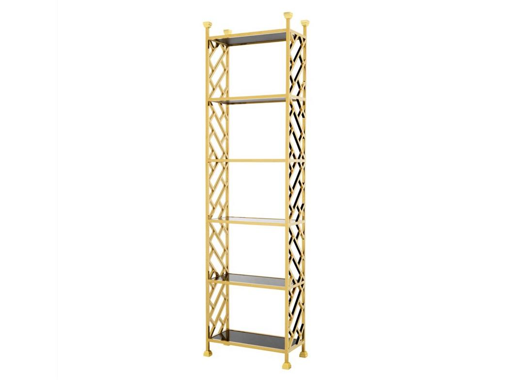 СтеллажСтеллажи и этажерки<br>Стеллаж Cabinet Skyler с металлическим каркасом из полированной нержавеющей стали золотого цвета. Полки выполнены из плотного черного стекла.<br><br>Material: Металл<br>Width см: 65<br>Depth см: 32<br>Height см: 230
