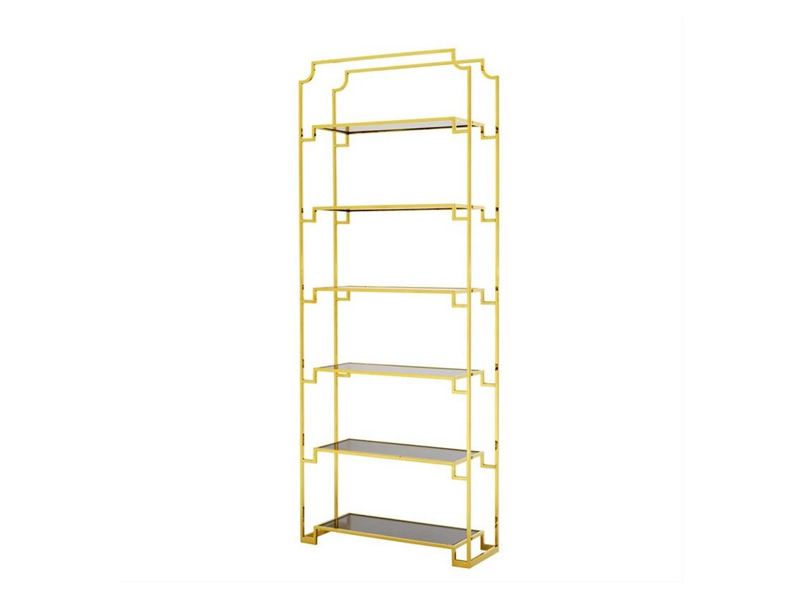 СтеллажСтеллажи и этажерки<br>Стеллаж Cabinet Berndorff выполнен из металла золотого цвета. Полки из плотного стекла дымчатого цвета.<br><br>Material: Металл<br>Ширина см: 90<br>Высота см: 230<br>Глубина см: 32