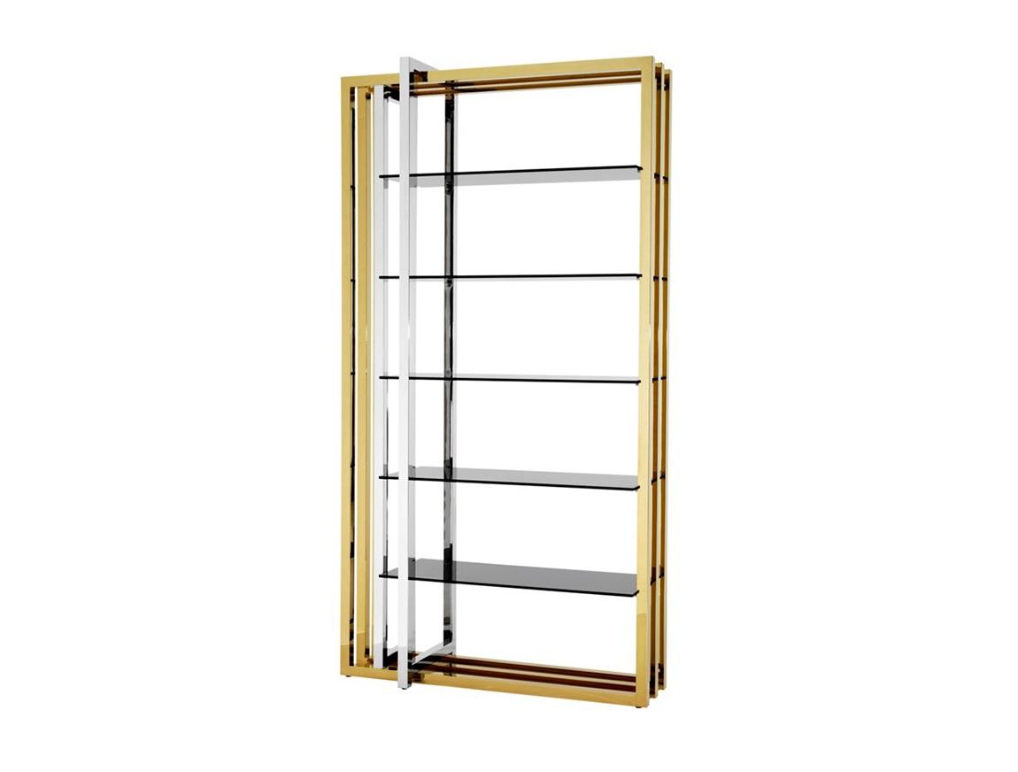 СтеллажСтеллажи и этажерки<br>Стеллаж Cabinet Cipriani выполнен из металла золотого цвета с вставкой из нержавеющей стали. Полки из плотного стекла дымчатого цвета.<br><br>Material: Металл<br>Width см: 120<br>Depth см: 60<br>Height см: 230