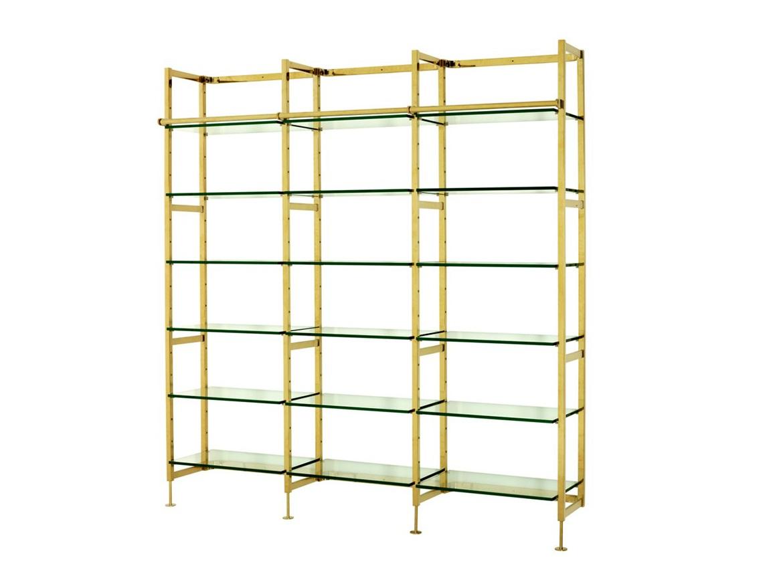 СтеллажСтеллажи и этажерки<br>Стеллаж Cabinet Delano выполнен из металла золотого цвета. Полки из плотного прозрачного стекла.<br><br>Material: Стекло<br>Ширина см: 223<br>Высота см: 245<br>Глубина см: 45