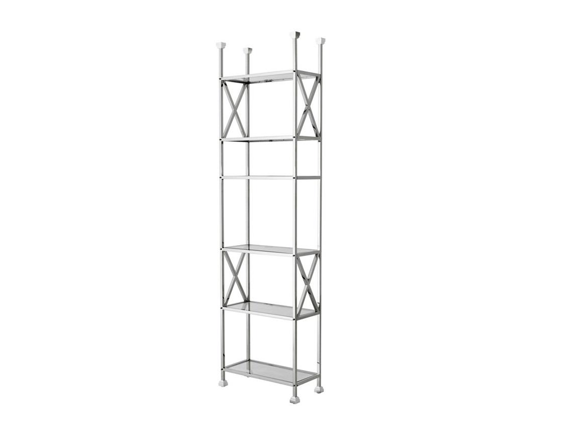 СтеллажСтеллажи и этажерки<br>Стеллаж Cabinet Delmar выполнен из полированной нержавеющей стали. Полки из плотного прозрачного стекла.<br><br>Material: Металл<br>Width см: 65<br>Depth см: 30<br>Height см: 230