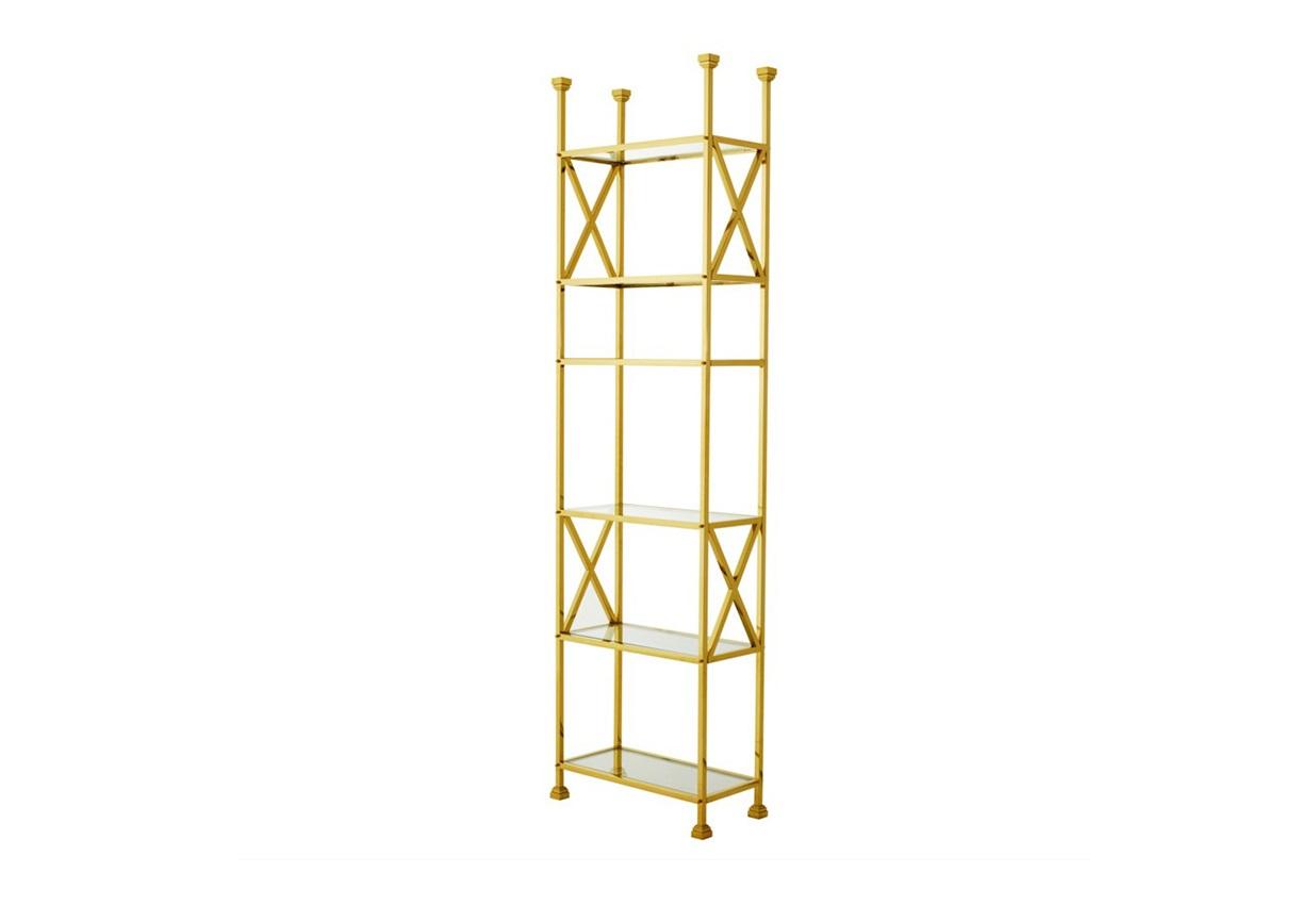 СтеллажСтеллажи и этажерки<br>Стеллаж Cabinet Delmar выполнен из металла золотого цвета. Полки из плотного прозрачного стекла.<br><br>Material: Металл<br>Width см: 65<br>Depth см: 30<br>Height см: 230