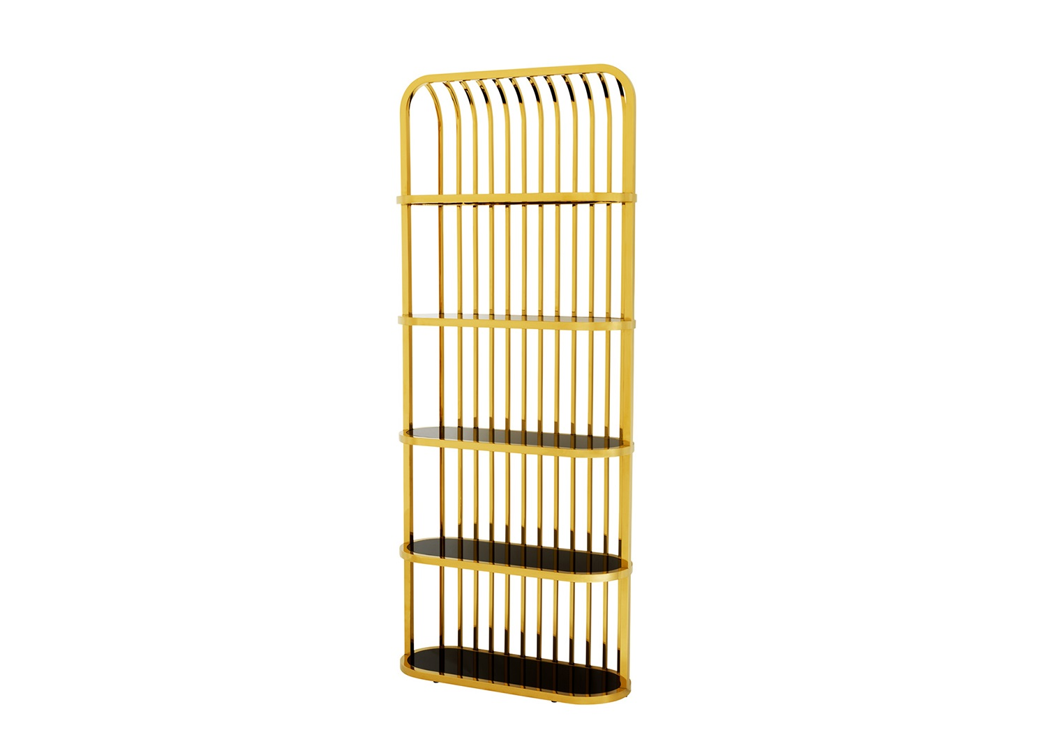 СтеллажСтеллажи и этажерки<br>Стеллаж Cabinet Eliot выполнен из металла золотого цвета. Полки из плотного стекла черного цвета.<br><br>Material: Металл<br>Ширина см: 95<br>Высота см: 230<br>Глубина см: 36
