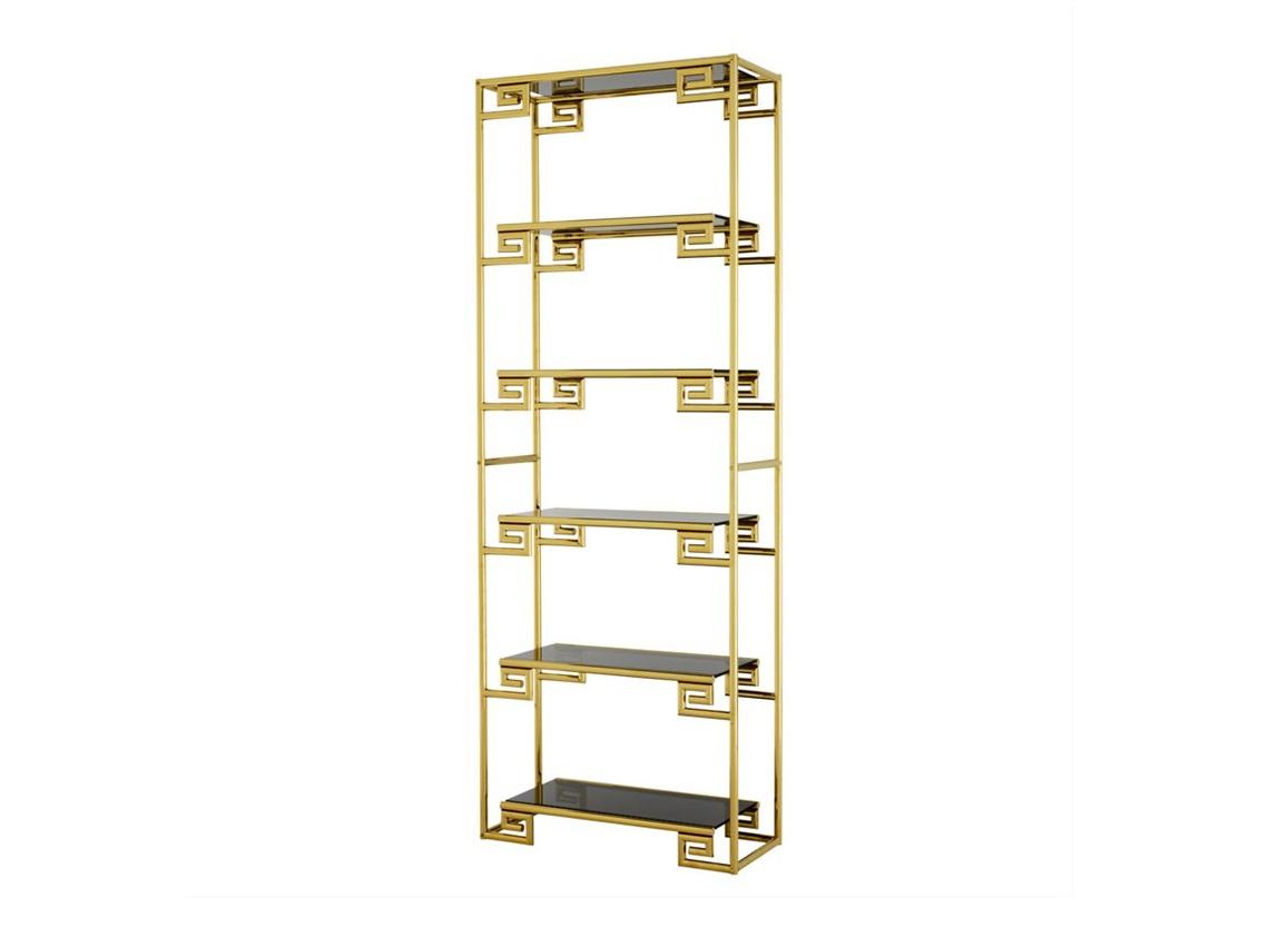 СтеллажСтеллажи и этажерки<br>Стеллаж Cabinet Kempinski выполнен из металла золотого цвета. Полки из плотного стекла дымчатого цвета.<br><br>Material: Металл<br>Ширина см: 85.0<br>Высота см: 230.0<br>Глубина см: 36.0