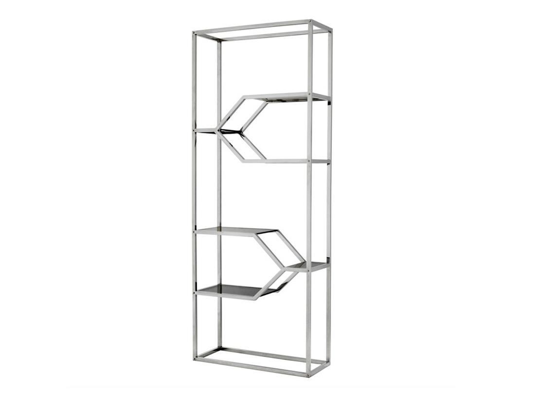 СтеллажСтеллажи и этажерки<br>Стеллаж Cabinet Myconian выполнен из полированной нержавеющей стали. Полки выполнены из плотного стекла дымчатого цвета.<br><br>Material: Металл<br>Width см: 90<br>Depth см: 36<br>Height см: 230