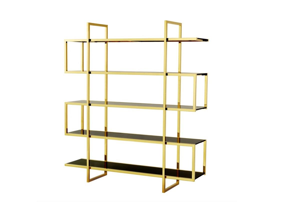СтеллажСтеллажи и этажерки<br>Стеллаж Cabinet Soto выполнен из металла золотого цвета. Полки из плотного стекла черного цвета.<br><br>Material: Металл<br>Width см: 160<br>Depth см: 42<br>Height см: 180