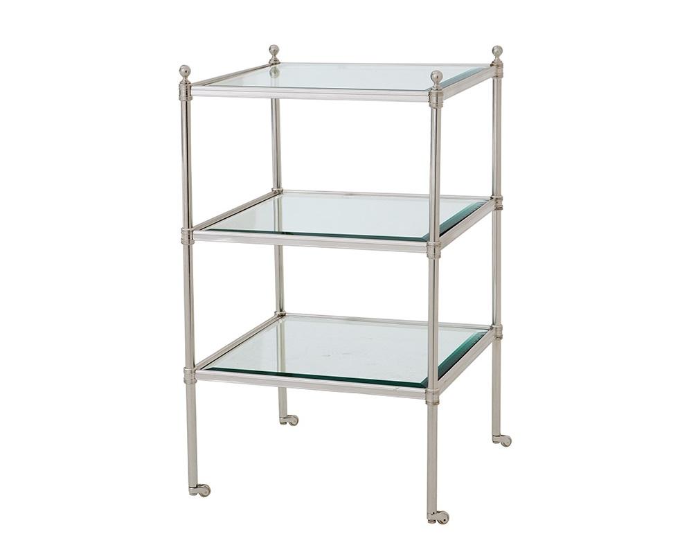 СтолСервировочные столики<br>Трех-ярусная этажерка Aubrey с плотными стеклянными полками. Металлическая конструкция лакированного серебряного цвета.<br><br>Material: Металл<br>Width см: 42<br>Depth см: 42<br>Height см: 71