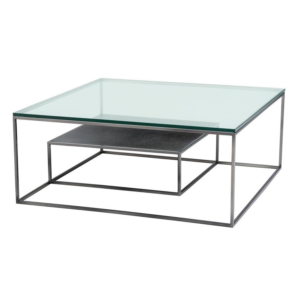 Журнальный столикЖурнальные столики<br>Журнальный столик Coffee Table Durand с каркасом из никелированного металла. Столешница выполнена из плотного прозрачного стекла. Внутри столика мини-столик с деревянной столешницей.<br><br>Material: Стекло<br>Width см: 90<br>Depth см: 90<br>Height см: 38