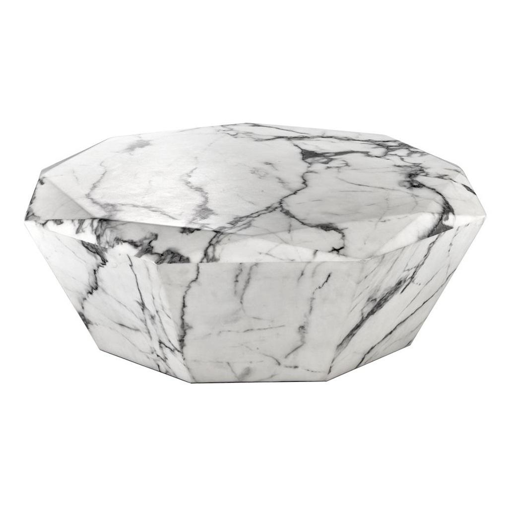 Журнальный столикЖурнальные столики<br>Журнальный столик Coffee Table Diamond с имитацией мрамора глянцевого белого цвета.<br><br>Material: Мрамор<br>Height см: 32<br>Diameter см: 101