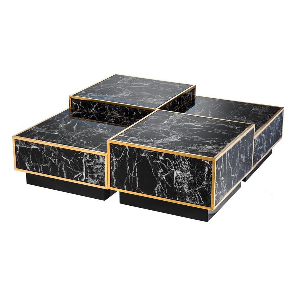 Журнальный столикЖурнальные столики<br>Набор из 4-х журнальных столиков Coffee Table Concordia set of 4 с имитацией мрамора глянцевого черного цвета. Металлические углы золотого цвета.&amp;amp;nbsp;&amp;lt;div&amp;gt;&amp;lt;br&amp;gt;&amp;lt;/div&amp;gt;&amp;lt;div&amp;gt;Размеры столиков: 2 стола 40 см х 65 см х 65 см, 2 стола 32 см х 65 см х 65 см.&amp;lt;/div&amp;gt;<br><br>Material: Мрамор