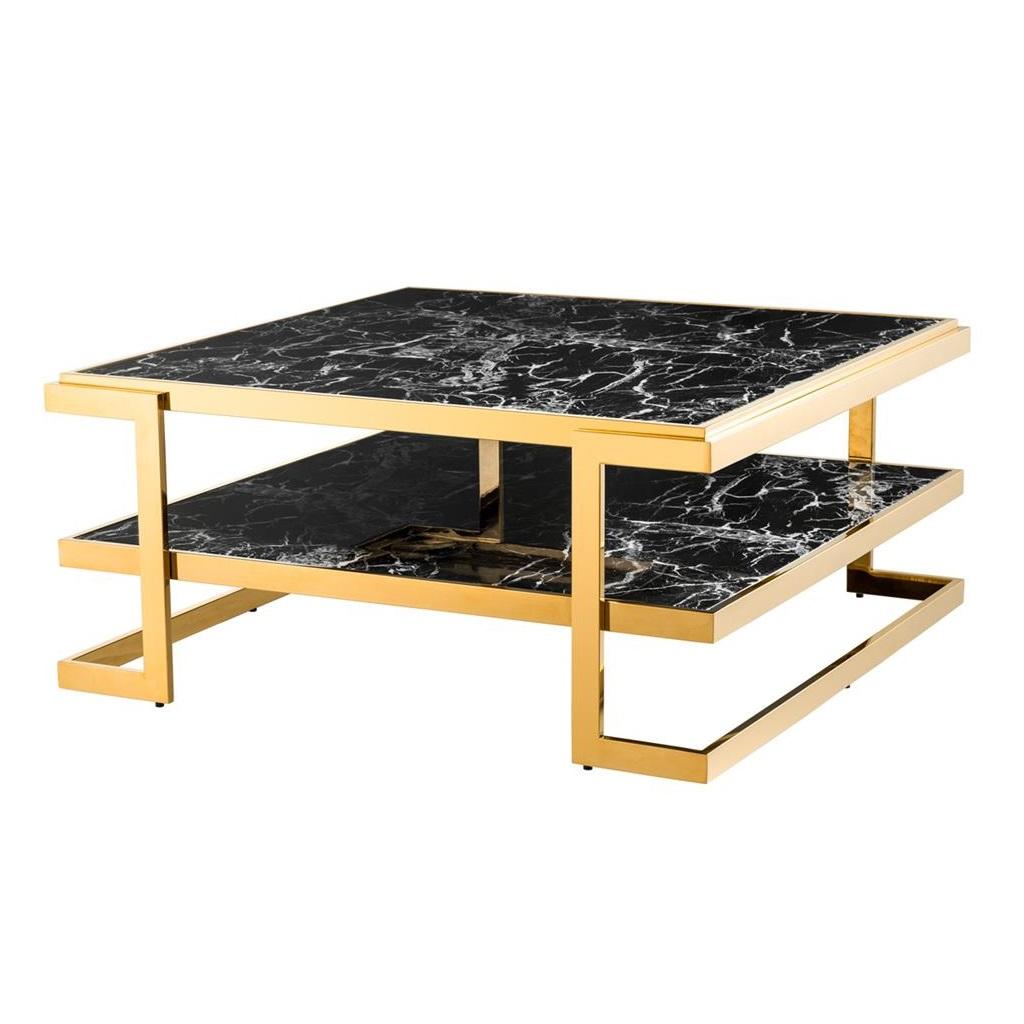 Журнальный столикЖурнальные столики<br>Журнальный столик Coffee Table Senato каркас и углы выполнены из металла золотого цвета. Столешница и полка с имитацией мрамора глянцевого черного цвета.<br><br>Material: Мрамор<br>Width см: 100<br>Depth см: 100<br>Height см: 46