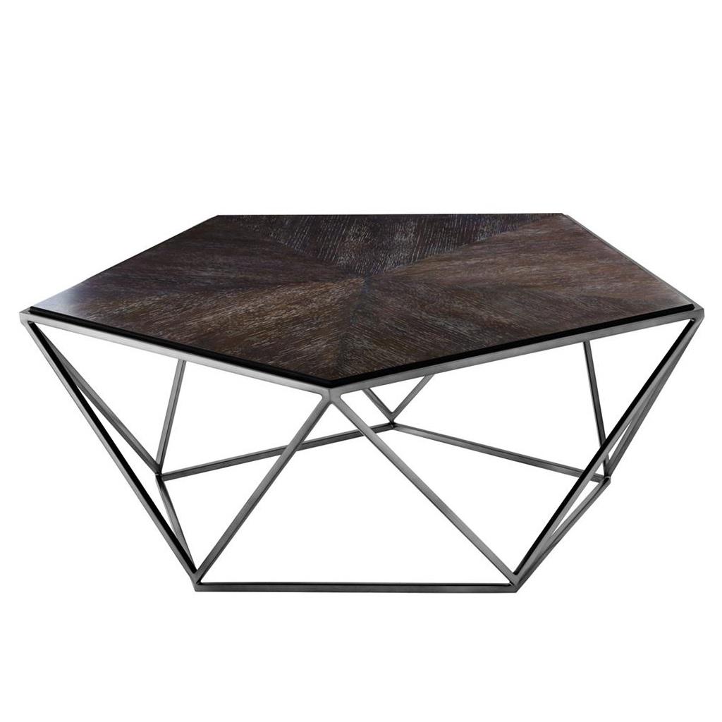 Журнальный столикЖурнальные столики<br>Журнальный столик Coffee Table Pentagon на металлическом основании цвета черный никель. Столешница выполнена из дерева коричневого цвета.<br><br>Material: Дерево<br>Width см: 94<br>Depth см: 94<br>Height см: 38
