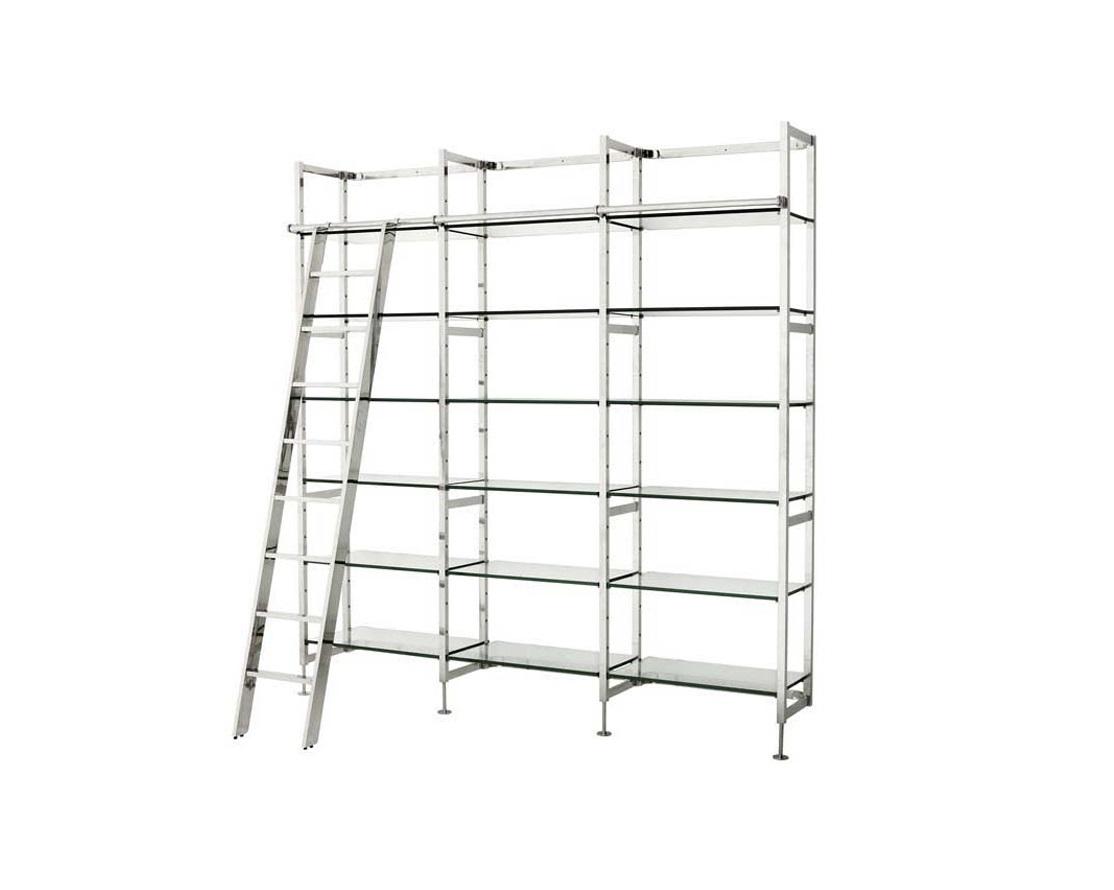 СтеллажСтеллажи и этажерки<br>Книжный стеллаж Delano Incl Stairs из нержавеющей стали. Многоуровневые полки. В комплекте приставная лестница.<br><br>Material: Металл<br>Width см: 233<br>Depth см: 45<br>Height см: 245