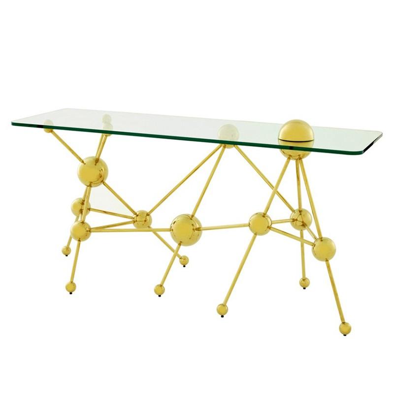 КонсольИнтерьерные консоли<br>Консоль Console Table Galileo на основании из металла золотого цвета с оригинальным дизайном в научном стиле. Столешница выполнена из плотного прозрачного стекла.<br><br>Material: Стекло<br>Width см: 150<br>Depth см: 60<br>Height см: 77