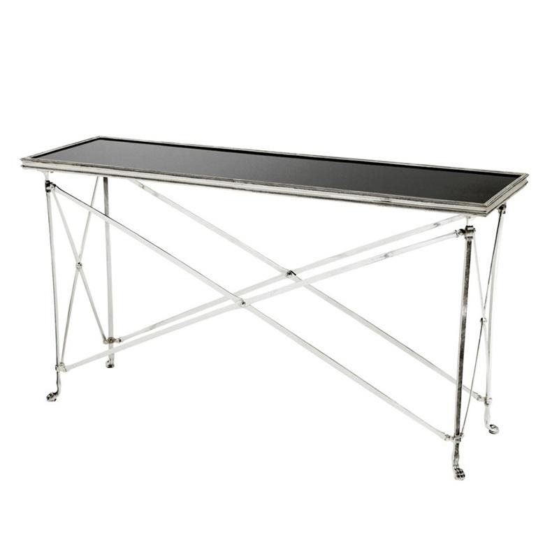 КонсольИнтерьерные консоли<br>Консоль Console Table Irmgard на основании из металла цвета античное серебро. Столешница выполнена из стекла черного цвета.<br><br>Material: Стекло<br>Width см: 140<br>Depth см: 43<br>Height см: 76