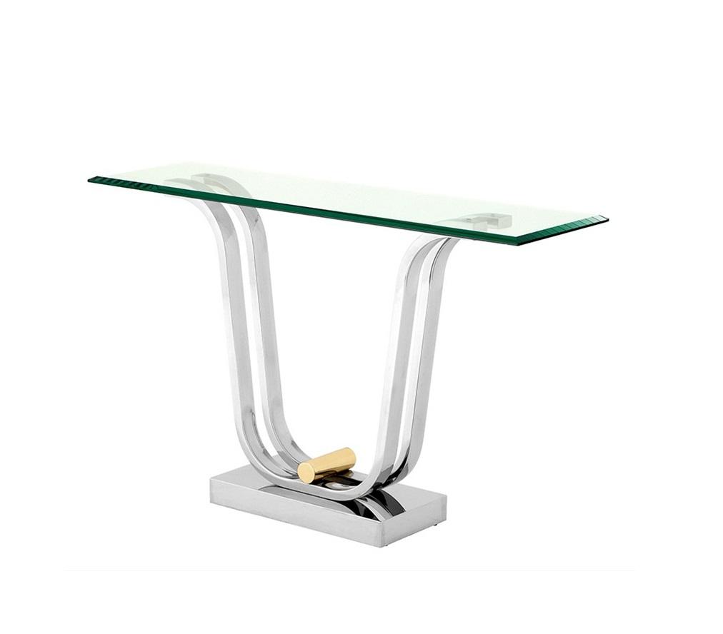 КонсольНеглубокие консоли<br>Консоль Console Table Julien на основании из нержавеющей стали. Столешница выполнена из плотного прозрачного стекла. Элемент из латуни на основании.<br><br>Material: Стекло<br>Width см: 120<br>Depth см: 35<br>Height см: 74