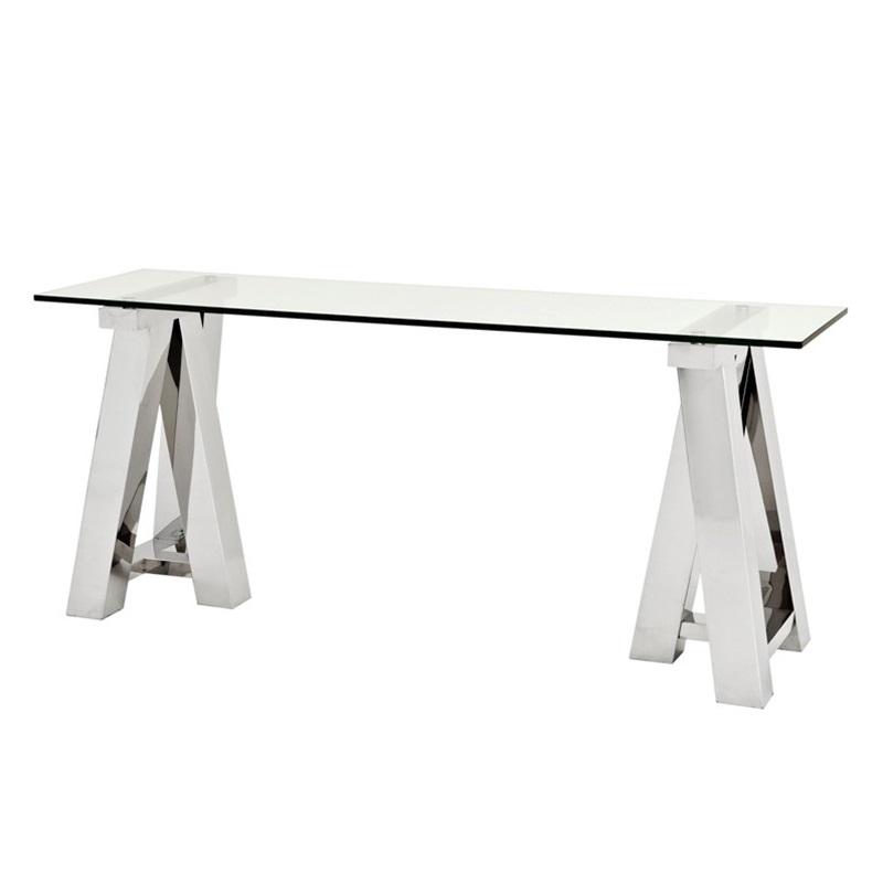 КонсольИнтерьерные консоли<br>Консоль Console Table Marathon на основании из полированной нержавеющей стали. Столешница выполнена из плотного прозрачного стекла.<br><br>Material: Стекло<br>Width см: 180<br>Depth см: 50<br>Height см: 78