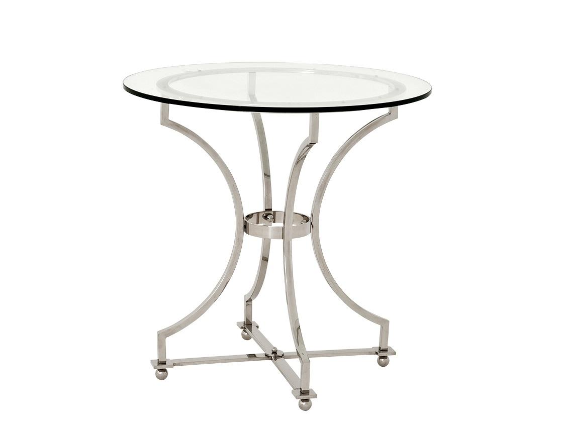 СтолПриставные столики<br>Столик Russell с металлическими ножками из нержавеющей стали. Столешница из плотного прозрачного стекла.<br><br>Material: Стекло<br>Height см: 74<br>Diameter см: 75