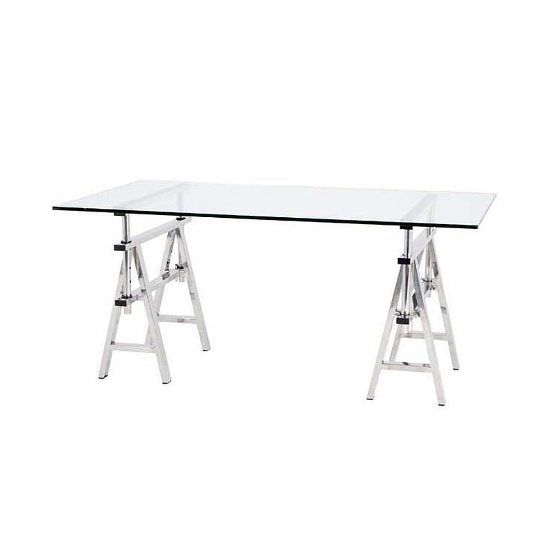 СтолОбеденные столы<br>Cтол Desk Shaker на ножках из нержавеющей стали. Столешница из плотного прозрачного стекла.&amp;lt;div&amp;gt;&amp;lt;br&amp;gt;&amp;lt;/div&amp;gt;&amp;lt;div&amp;gt;Высота стола регулируется от 64 до 77 см.&amp;lt;/div&amp;gt;<br><br>Material: Стекло<br>Width см: 190<br>Depth см: 90<br>Height см: 64
