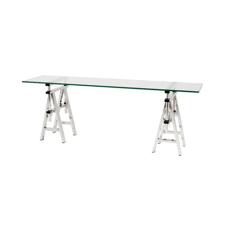 СтолОбеденные столы<br>Cтол Desk Shaker на ножках из нержавеющей стали. Столешница из плотного прозрачного стекла.&amp;amp;nbsp;&amp;lt;div&amp;gt;&amp;lt;br&amp;gt;&amp;lt;/div&amp;gt;&amp;lt;div&amp;gt;Высота стола регулируется от 66 до 78 см.&amp;lt;/div&amp;gt;<br><br>Material: Стекло<br>Ширина см: 200.0<br>Высота см: 66.0<br>Глубина см: 50.0