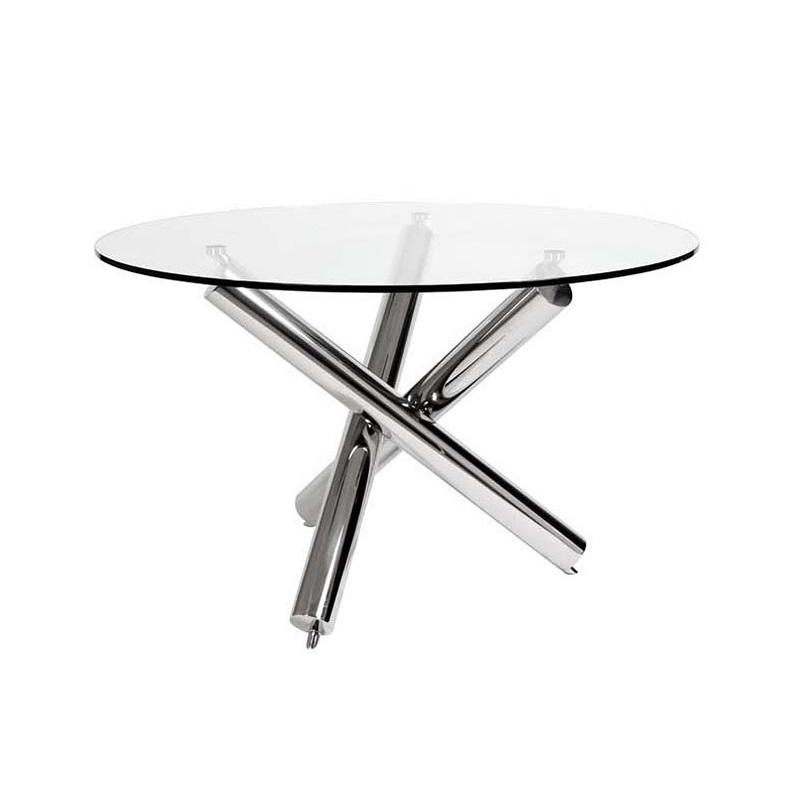 СтолОбеденные столы<br>Стол Dining Corsica Round из нержавеющей стали. Столешница из плотного прозрачного стекла.<br><br>Material: Стекло<br>Width см: None<br>Height см: 75<br>Diameter см: 120