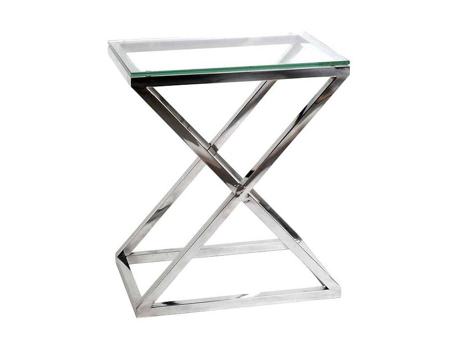 СтолПриставные столики<br>Приставной столик Side Table Criss Cross на основании из нержавеющей стали. Столешница выполнена из плотного прозрачного стекла.<br><br>Material: Стекло<br>Ширина см: 62<br>Высота см: 72<br>Глубина см: 42