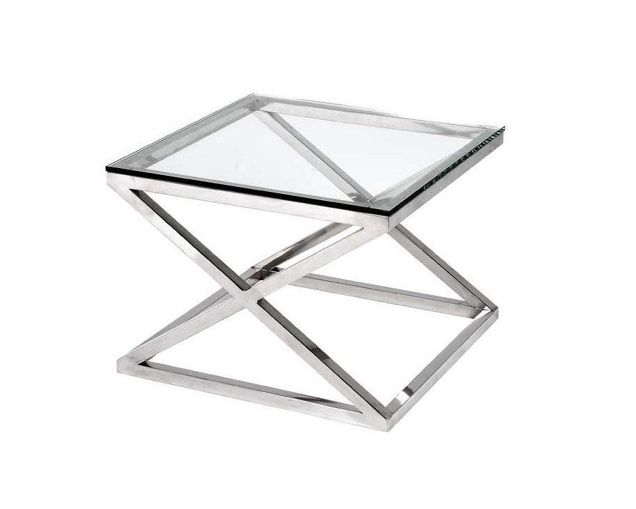 СтолПриставные столики<br>Приставной столик Side Table Criss Cross на основании из нержавеющей стали. Столешница выполнена из плотного прозрачного стекла.<br><br>Material: Стекло<br>Width см: 65<br>Depth см: 65<br>Height см: 49