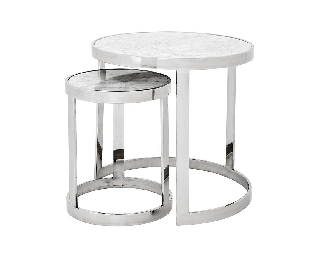СтолПриставные столики<br>Набор из 2-х приставных столиков Side Table Fletcher set of 2 на основании из нержавеющей стали. Столешницы из мрамора белого цвета.&amp;amp;nbsp;&amp;lt;div&amp;gt;&amp;lt;br&amp;gt;&amp;lt;/div&amp;gt;&amp;lt;div&amp;gt;Размеры: 56х56х56 см, 45.5х35х35 см.&amp;lt;/div&amp;gt;<br><br>Material: Мрамор