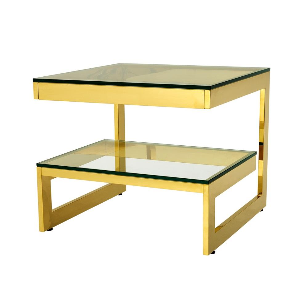СтолПриставные столики<br>Приставной столик Side Table Gamma на металлическом основании золотого цвета. Столешница выполнена из плотного прозрачного стекла.<br><br>Material: Стекло<br>Ширина см: 65.0<br>Высота см: 55.0<br>Глубина см: 65.0