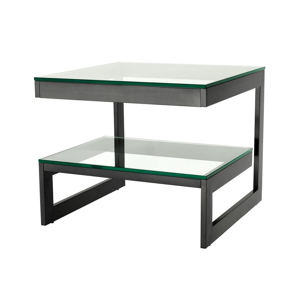 СтолПриставные столики<br>Приставной столик Side Table Gamma на металлическом основании бронзового цвета. Столешница выполнена из плотного прозрачного стекла.<br><br>Material: Стекло<br>Width см: 65<br>Depth см: 65<br>Height см: 55