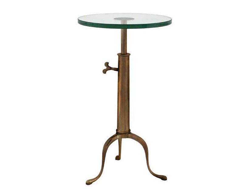 СтолКофейные столики<br>Table Brompton - столик. Столешница стеклянная. Основание металлическое, цвет - состаренная латунь. Высота регулируется 63-76 см.<br><br>Material: Стекло<br>Height см: 76<br>Diameter см: 40