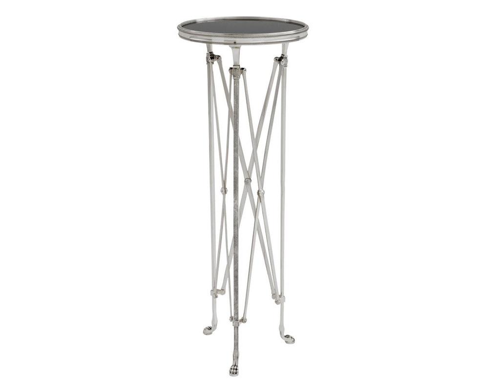 СтолПриставные столики<br>Колонна St etienne на металлических ножках цвета античное серебро. Столешница выполнена из плотного стекла черного цвета.<br><br>Material: Металл<br>Height см: 100<br>Diameter см: 36