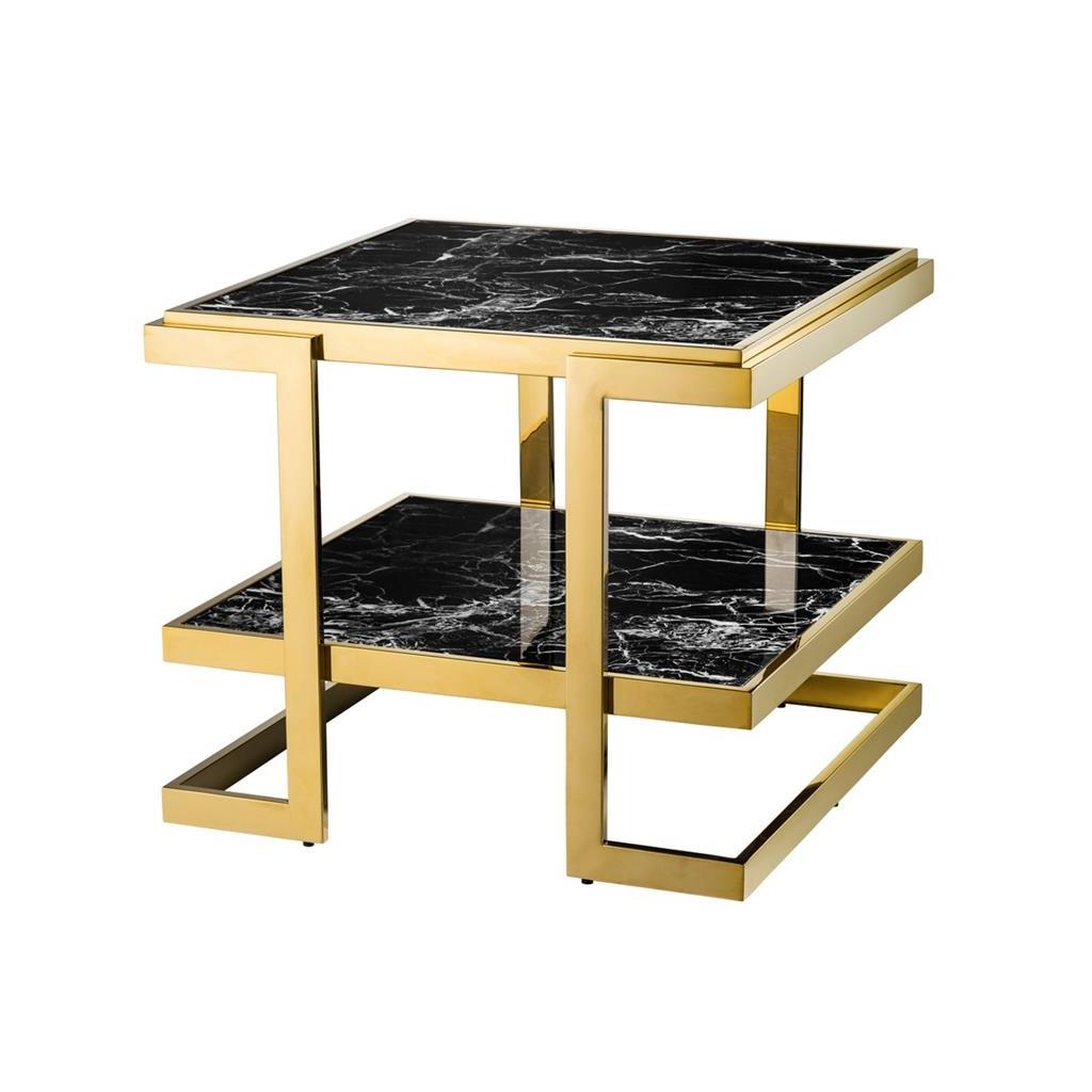 СтолЖурнальные столики<br>Столик Side Table Senato каркас и углы выполнены из металла золотого цвета. Столешница и полка с имитацией мрамора глянцевого черного цвета.<br><br>Material: Мрамор<br>Width см: 65<br>Depth см: 65<br>Height см: 55,5