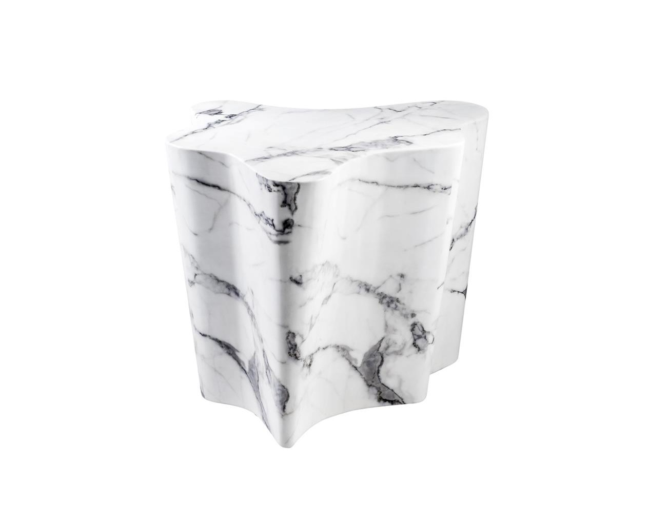 СтолПриставные столики<br>Столик Side Table Sceptre с имитацией мрамора глянцевого белого цвета.<br><br>Material: Мрамор<br>Ширина см: 68<br>Высота см: 56<br>Глубина см: 62