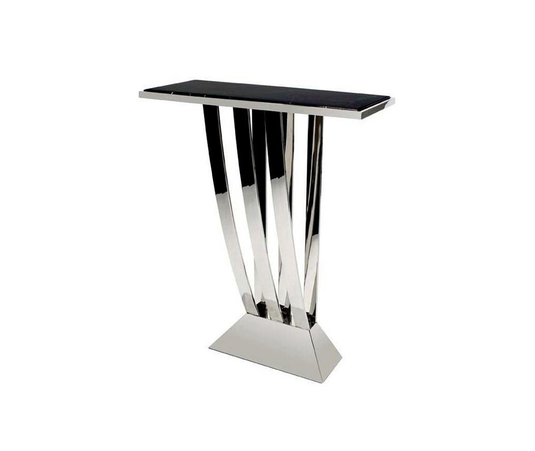 КонсольНеглубокие консоли<br>Консоль Console Table Beau Deco выполнена из нержавеющей стали. Столешница из мрамора черного цвета.<br><br>Material: Мрамор<br>Width см: 70<br>Depth см: 30<br>Height см: 92,5