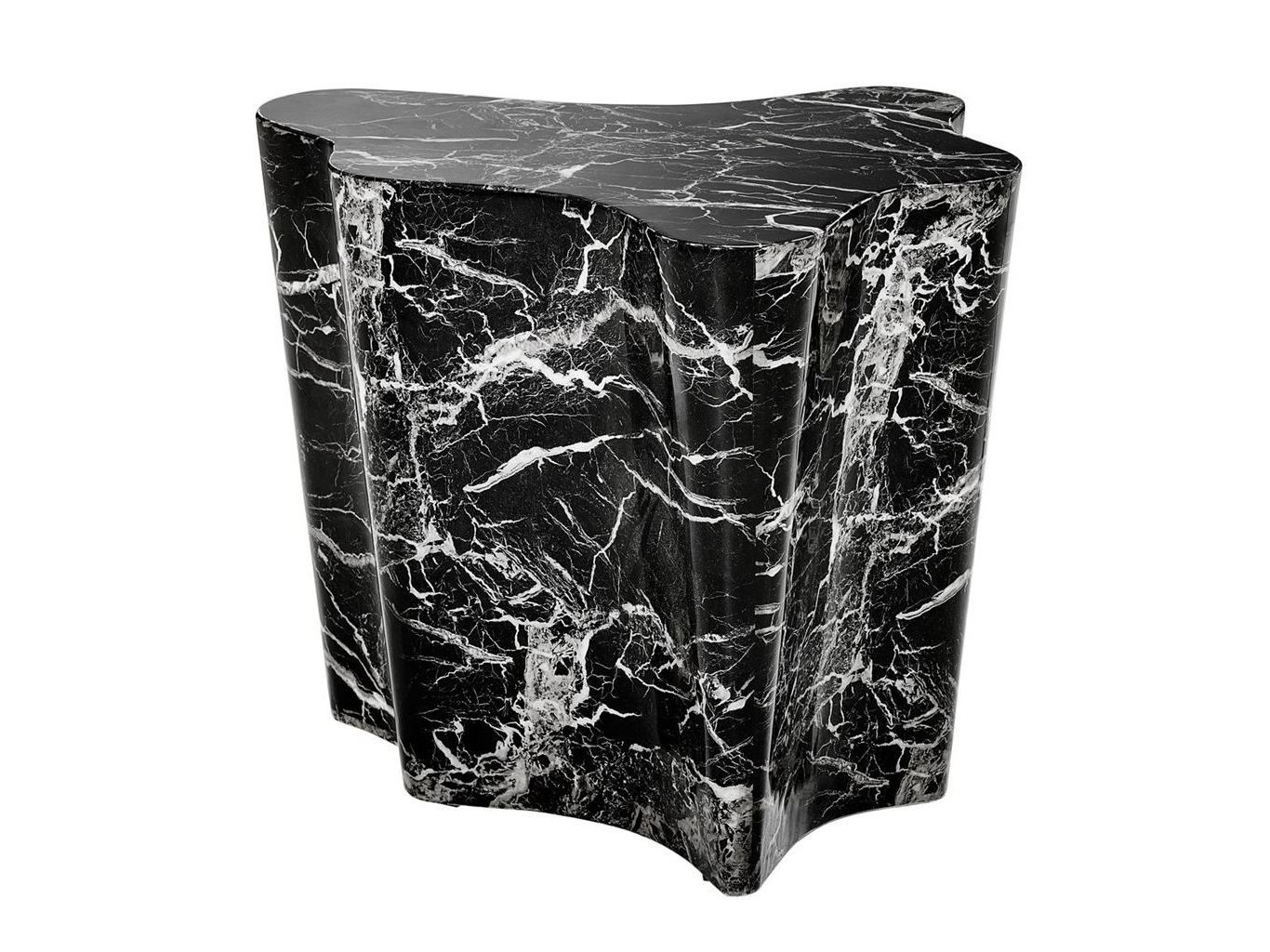 СтолПриставные столики<br>Столик Side Table Sceptre с имитацией мрамора глянцевого черного цвета.<br><br>Material: Мрамор<br>Width см: 68<br>Depth см: 62<br>Height см: 56