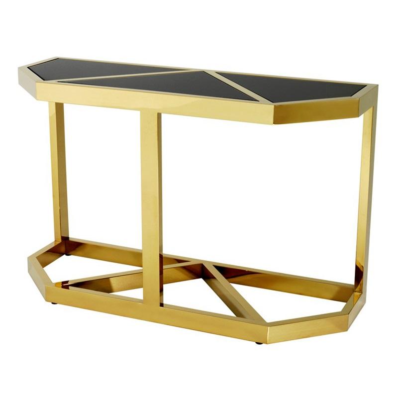 КонсольИнтерьерные консоли<br>Консоль Console Table Beau Deco на металлическом основании золотого цвета. Столешница выполнена из плотного стекла черного цвета.<br><br>Material: Стекло<br>Width см: 120<br>Depth см: 45<br>Height см: 76