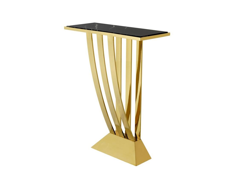КонсольНеглубокие консоли<br>Консоль Console Table Beau Deco на металлическом основании золотого цвета. Столешница выполнена из мрамора черного цвета.<br><br>Material: Мрамор<br>Width см: 70<br>Depth см: 30<br>Height см: 92,5