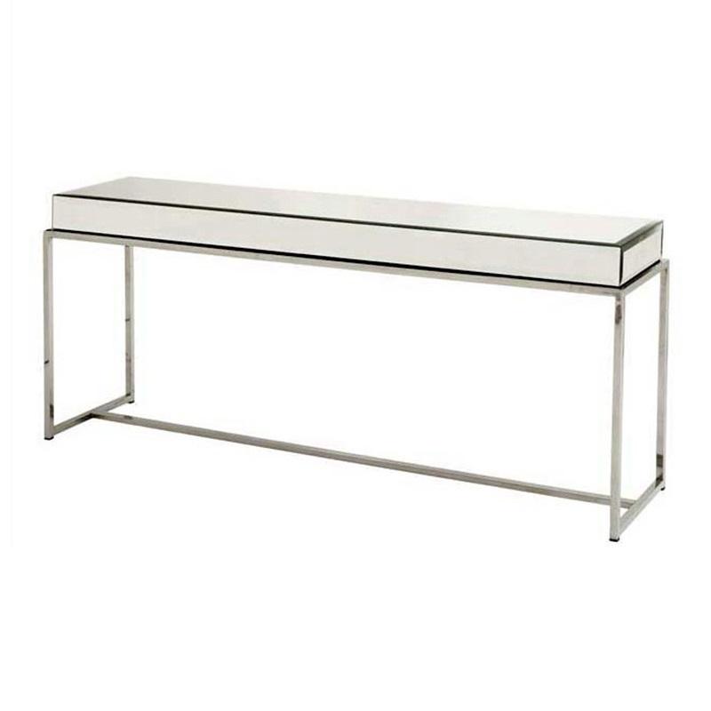 КонсольНеглубокие консоли<br>Консоль Console Table Beverly Hills на основании из нержавеющей стали. Столешница выполнена из зеркального стекла.<br><br>Material: Стекло<br>Глубина см: 40