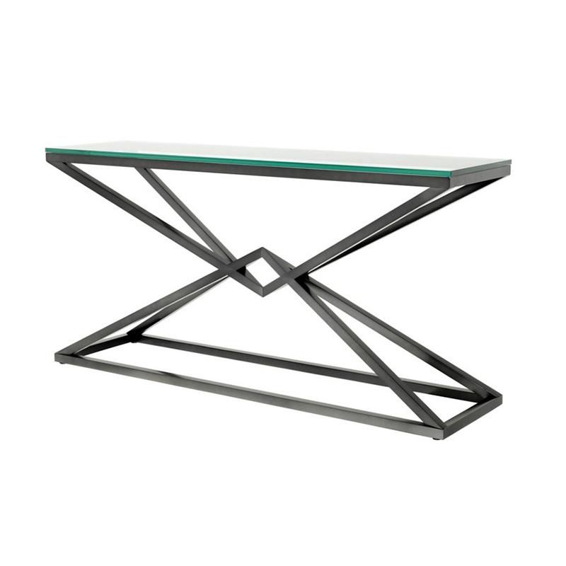 КонсольНеглубокие консоли<br>Консоль Console Table Connor на металлическом основании бронзового цвета. Столешница выполнена из плотного прозрачного стекла.<br><br>Material: Стекло<br>Ширина см: 150<br>Высота см: 75<br>Глубина см: 40