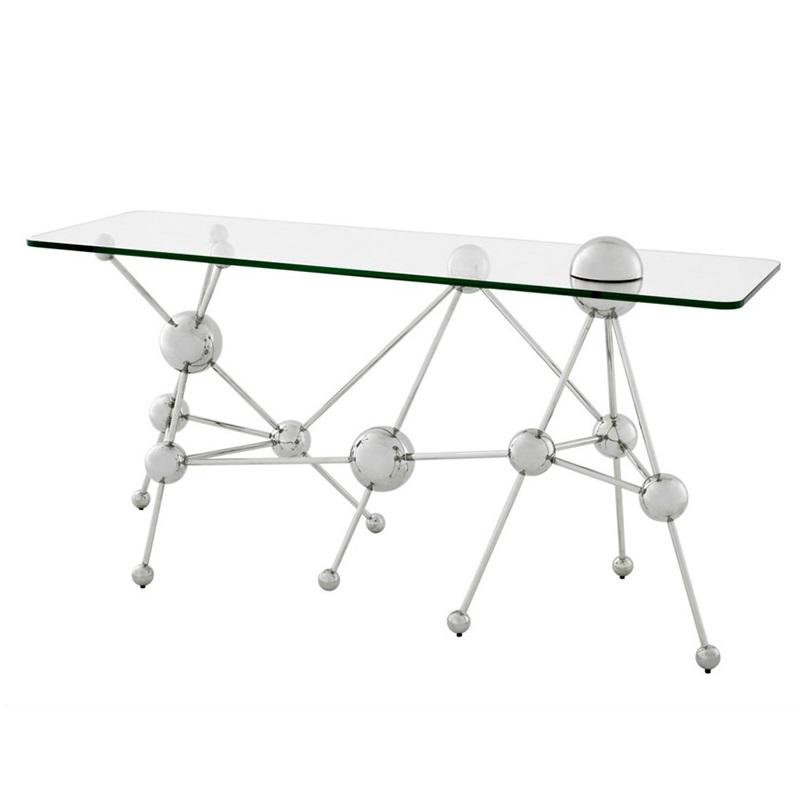 КонсольИнтерьерные консоли<br>Консоль Console Table Galileo на основании из нержавеющей стали с оригинальным дизайном в научном стиле. Столешница выполнена из плотного прозрачного стекла.<br><br>Material: Стекло<br>Width см: 150<br>Depth см: 50<br>Height см: 76