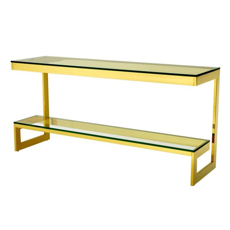 КонсольИнтерьерные консоли<br>Консоль Console Table Gamma на металлическом основании золотого цвета. Столешница выполнена из плотного прозрачного стекла.<br><br>Material: Стекло<br>Width см: 160<br>Depth см: 45<br>Height см: 76